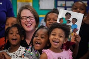 State Demographer Susan Brower spoke to a kindergarten class at Bethune Elementary School in Minneapolis on Dec. 20. Census takers, hired from the com