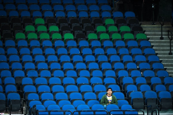 With the exception of a single fan, an entire lower level section at Target Center was empty during the fourth quarter of a Wolves preseason game agai