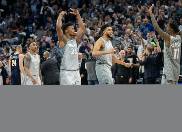Jimmy Butler, Karl-Anthony Towns and teammates walked off the court during a timeout in overtime.