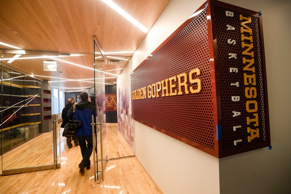 The entrance of the new Gophers Basketball Development Center.