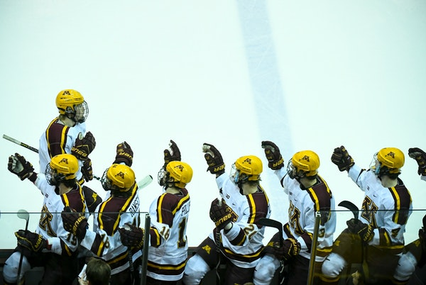 The Gophers celebrated a goal by Rem Pitlick on Friday.