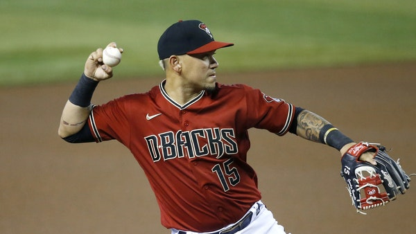 Ildemaro Vargas warmed up for Arizona before a game against the Dodgers on Aug. 2.