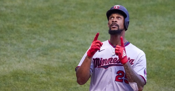 Minnesota Twins' Byron Buxton celebrates after hitting a home run during the fifth inning of a baseball game against the Milwaukee Brewers Wednesday