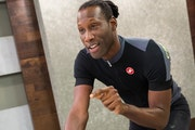Caesar Russell, cycling instructor for Wellbeats, a St. Louis Park-based firm that offers videos and other online fitness programs.