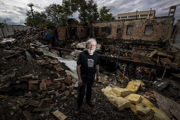 Don Blyly stood on the ruins of Uncle Hugo's Science Fiction & Uncle Edgar's Mystery Bookstores in Minneapolis.