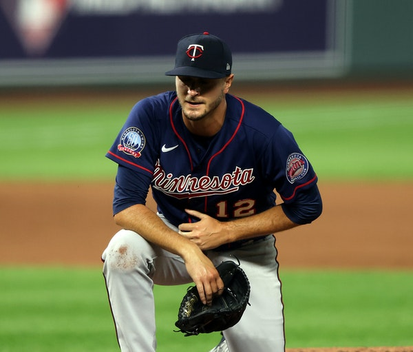 Twins pitcher Jake Odorizzi takes a knee after being hit by the ball during the fourth inning against the Royals at Kauffman Stadium on Friday
