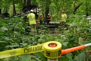 Crews with Arcadis and Cascade Drilling worked to drill a new monitoring well at Area C on the banks of the Mississippi River just below the Ford site