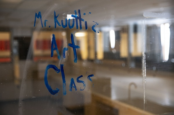 """The words """" Mr. Kuuttiz Art Class"""" remained painted on a window in the former art classroom in Duluth Central High School on Thursday March 5, 2020. T"""