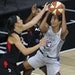 The Lynx's Napheesa Collier, right, was blocked by the Aces' Dearica Hamby during the second half of a WNBA game Thursday.