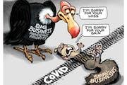 Sack cartoon: Big business profits