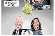 Sack cartoon: The balloon drop ...