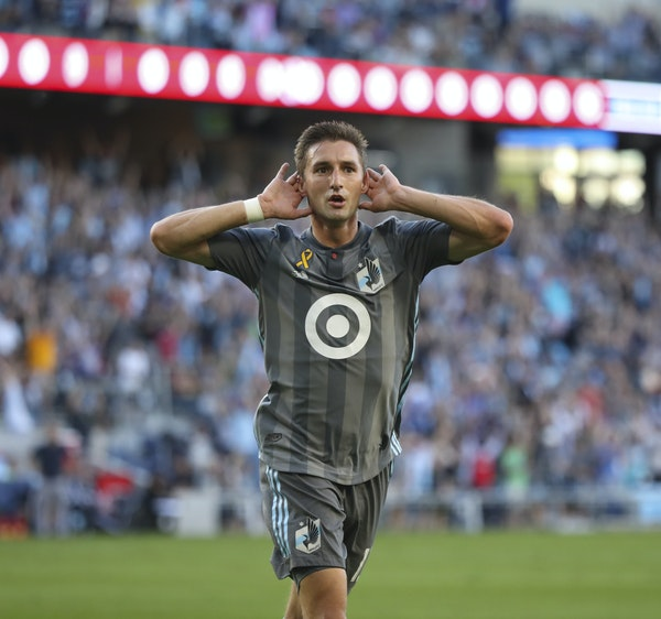 Minnesota United midfielder Ethan Finlay celebrated after a goal against Real Salt Lake on Sept. 15, 2019 at Allianz Field.