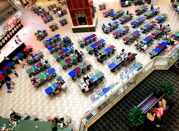 A 2006 remodel of the food court at Burnsville Center included an addition of a fireplace and some new decor.