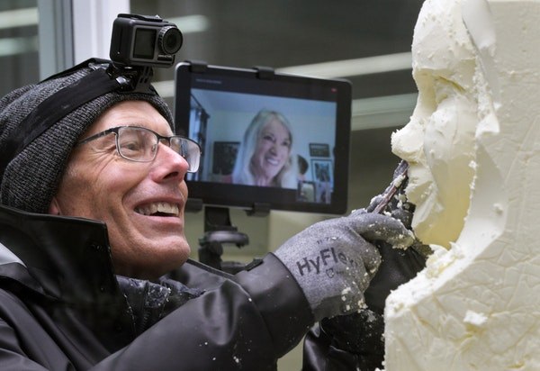 Above, longtime butter sculptor Linda Christensen communicated via video call with her apprentice, Gerry Kulzer, who was working on the bust of the 20