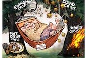Sack cartoon: Meanwhile ...