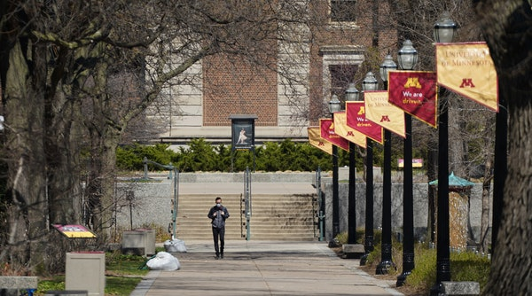 The University of Minnesota's Board of Regents will consider a proposal Monday to delay the opening of campus, pictured here in April, by at least t