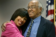 Judge Tanya Bransford gave father Jim Bransford a bear hug behind the judge's bench at the Juvenile Justice Center in Minneapolis.