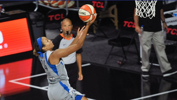 The Lynx's Napheesa Collier shoots against the Connecticut Sun during the first half of a game on Aug. 1 in Florida