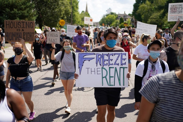 Renters and community members organized by Inquilinxs Unidxs Por Justicia (United Renters For Justice) marched Aug. 1 in Minneapolis.