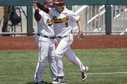 The Gophers' Terrin Vavra rounded the bases after hitting a home run against Purdue during the 2018 Big Ten championship game in Omaha.