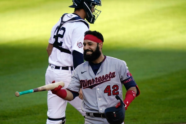 The Twins' Marwin Gonzalez reacted after striking out to end the game during the second game of a doubleheader against at Detroit on Saturday. After S