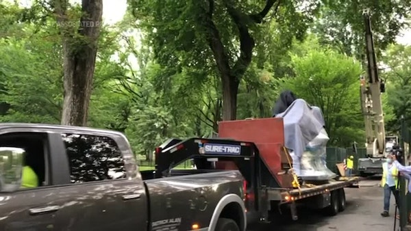 Statue of suffragettes arrives in NYC's Central Park