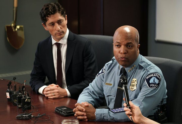 Minneapolis Mayor Jacob Frey, left, and Police Chief Medaria Arradondo. A commissioner of a police oversight board says the city has wrongfully withhe
