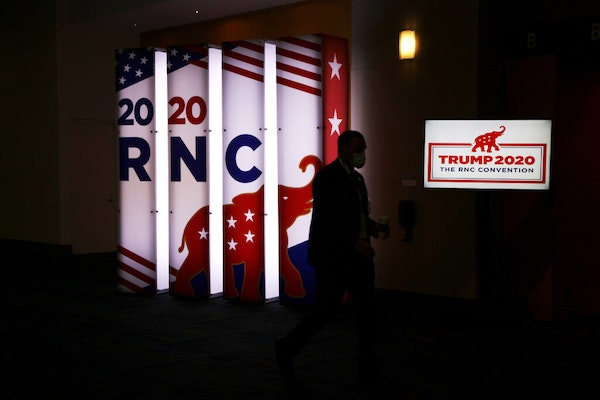 A Trump 2020 sign at the Charlotte Convention Center in Charlotte, N.C., Monday, Aug. 24, 2020, the first day of the Republican National Convention.
