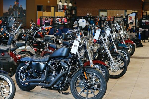 Harley Davidson motorcycles on display at a dealership in Ashland, Va., in 2019