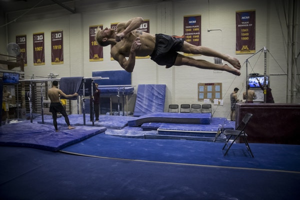 Former Gophers gymnast Jack Kramer worked out at Cooke Hall in 2017.