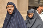 Hawo Mohamed Hassan, left, and Amina Farah Ali entering the federal courthouse during their trial.