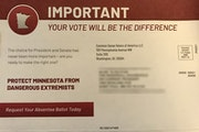 This mailer is being sent to households across Minnesota from a group called Common Sense Voters of America, an Ohio-based political advocacy group. (