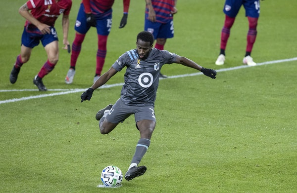 The Loons' Kevin Molino scored on a penalty in the second half, his second goal of the game giving Minnesota United a 3-1 lead.