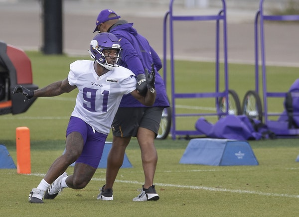 Minnesota Vikings defensive end Yannick Ngakoue took to the field for practice at the TCO Performance Center, Friday, September 4, 2020 in Eagan, MN.