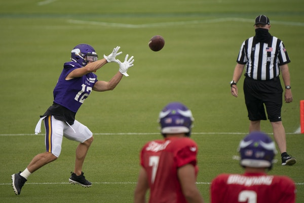 Chad Beebe at Vikings practice Tuesday at TCO Performance Center in Eagan.