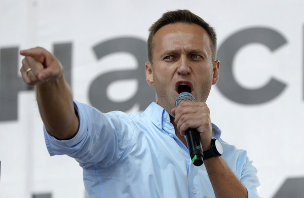 Russian opposition activist Alexei Navalny speaks to a crowd during a political protest in Moscow in 2019.