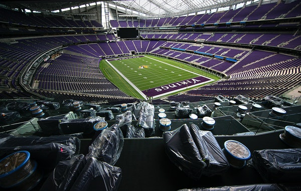 U.S. Bank Stadium will not look much different than this on gamedays for at least the beginning of the 2020 season, with no fans being allowed for Vik
