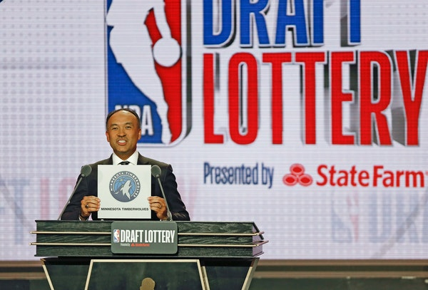 NBA Deputy Commissioner Mark Tatum announces that the Minnesota Timberwolves had won the eleventh pick during the NBA draft lottery in 2019. The Wolve