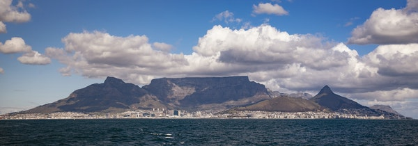 Cape Town is seen from the ferry to Robben Island.