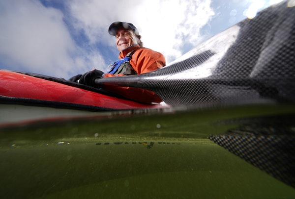 Mike Stout, shown on Lake Minnetonka, is on a pace of paddling his kayak 1,000 miles in each of the past five years. Among his treks was a solo crossi