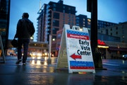 An early vote center in downtown Minneapolis for the 2020 primary election.