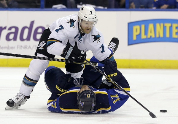 Paul Martin, shown in 2016 with the San Jose Sharks, helped the Gophers win two NCAA titles.