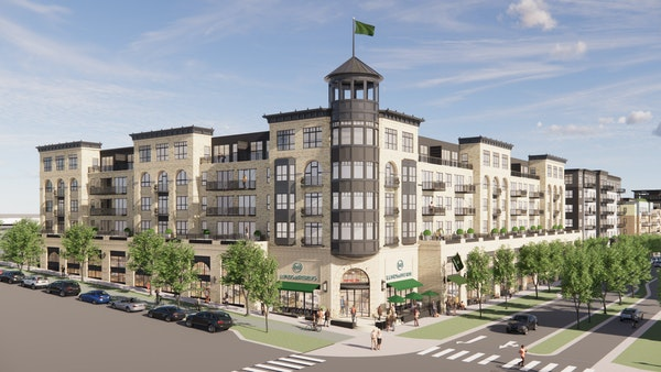Rendering of the retail/apartment complex at the former Ford site in St. Paul that will be anchored by Lunds & Byerlys.