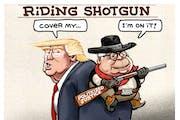 Sack cartoon: Barr's riding shotgun
