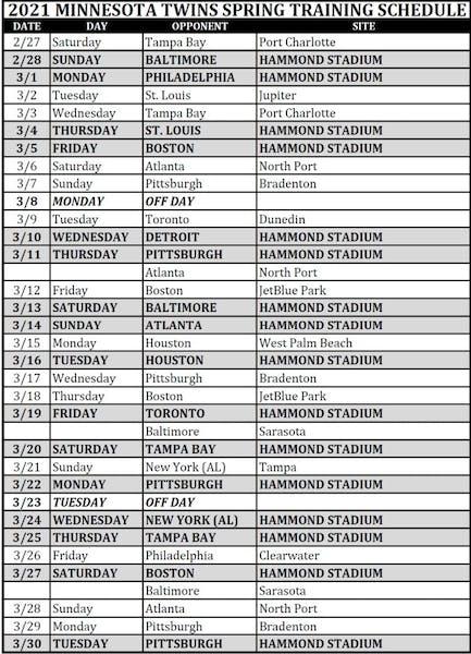 Twins announce 2021 spring training schedule; season starts Feb. 28