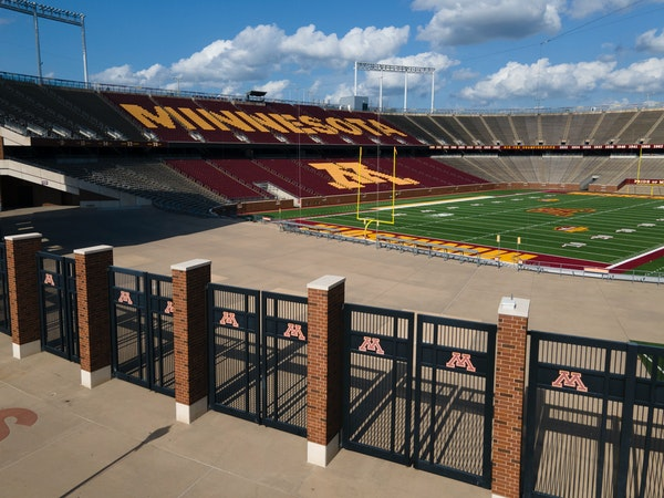 An empty TCF Bank Stadium, home of the Gophers.