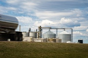 A tanker truck loaded with ethanol left Al-Corn Clean Fuel ethanol plant in Claremont, Minn., in April 2020. The EPA has refused to grant retroactive