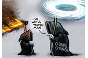 Sack cartoon: Climate change