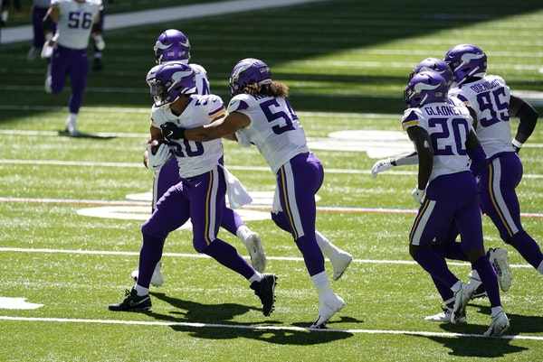 Vikings linebacker Eric Wilson (50) after his first NFL interception on Sunday against the Colts.