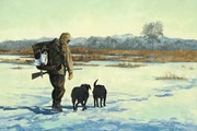 """Bob White's """"Last Day"""" waterfowl hunting painting. White's works include oil, watercolors and pencil drawings."""